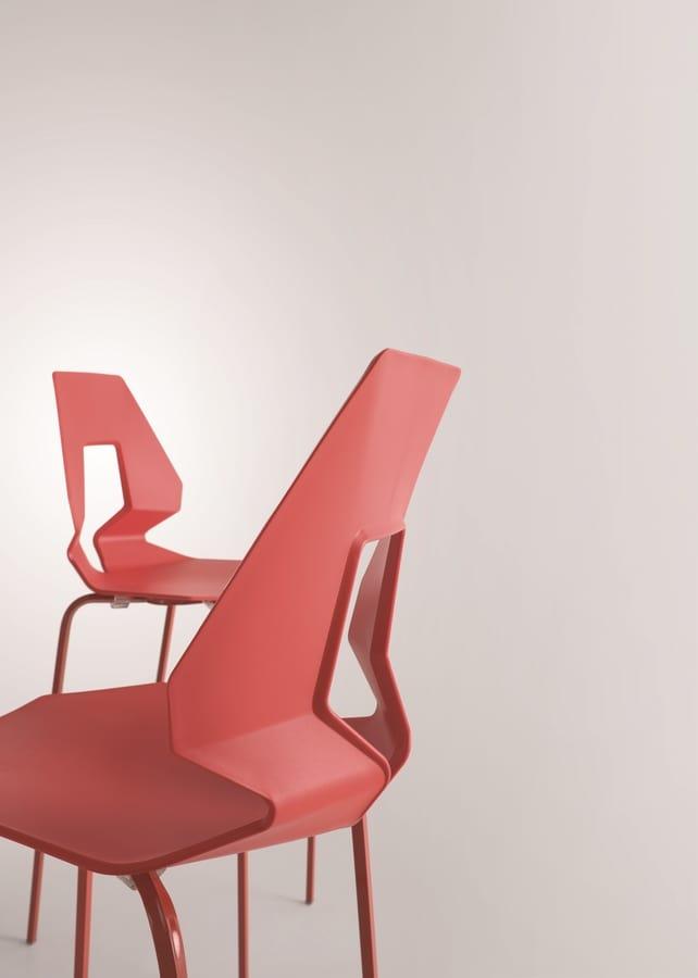 Prodige ST, Moderne Barhocker in Polymer und Metall, perforiert zurück