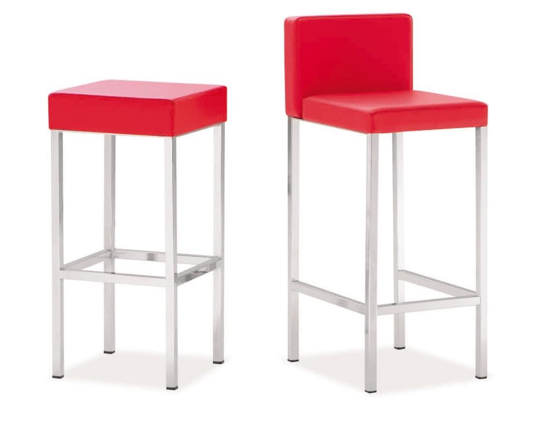 SG 011, Chrom-Metall-Barhocker, Sitz gepolstert, für die Küche