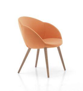 1072, Gepolsterter Stuhl mit Holzbeinen, für Pizzerien
