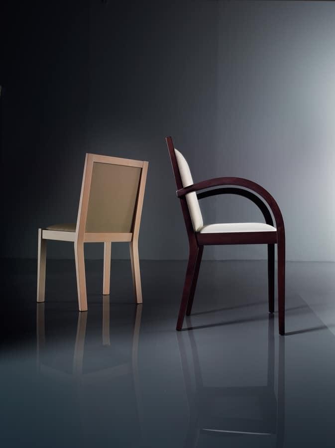ART. 192 LUNA, Stuhl mit gepolsterten Armlehnen, in Buche, für Wohnräume