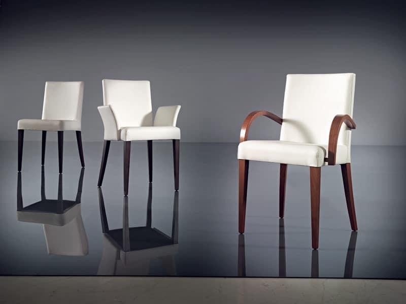 ART. 227 FLORANCE, Stuhl mit Armlehnen, modern, Buchenholz und Leder, Hotel