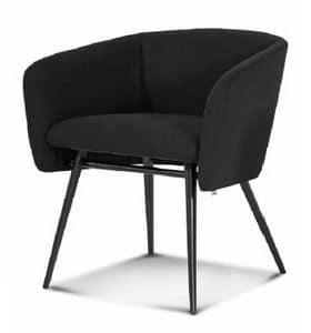 ART. BALÙ Met, Sessel mit Metallgestell, konischer Beine