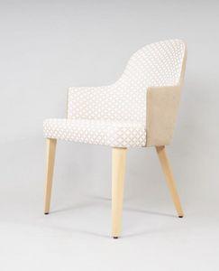 BS438A - Lehrstuhl, Gepolsterter Stuhl mit Beinen aus Buche