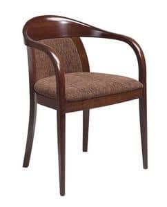 C25, Bugholz Sessel mit Armlehnen, gepolsterter Sitz und Rücken, Lederbezug, für Vertrags