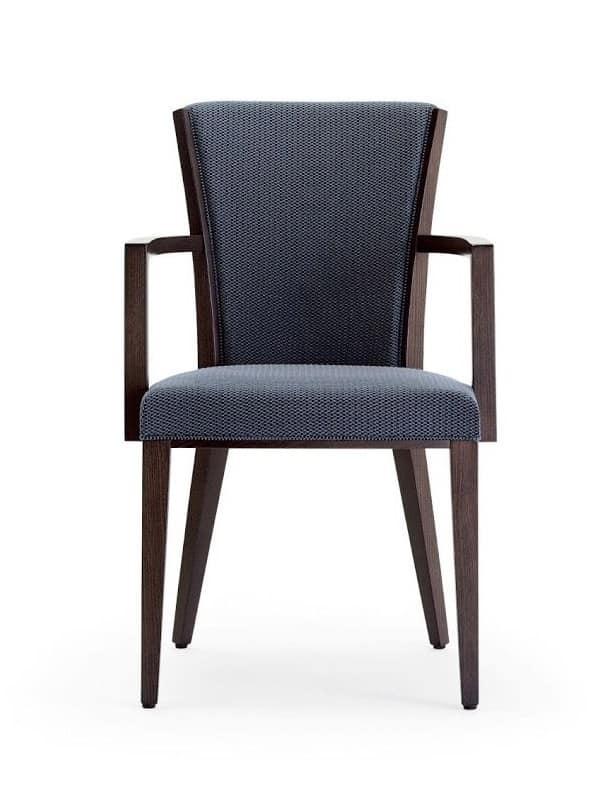 Sessel Mit Armlehnen Aus Holz Sitz Und Rucken Gepolstert Mit Stoff