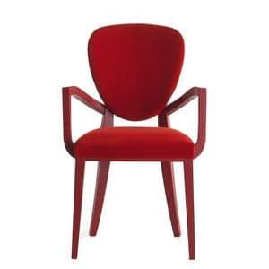 Cammeo 02621, Sessel aus Massivholz, Sitz und Rücken gepolstert, Stoffbezug, moderner Stil