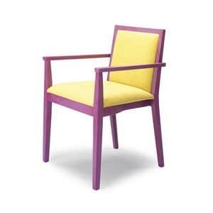 D05, Stuhl mit Armlehnen, aus Buchenholz