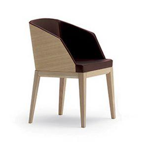 Elly Wood P, Gepolsterter kleiner Sessel, mit Rückenlehne der Rückenlehne aus Holz