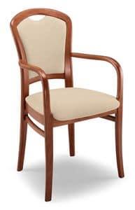 Giusy PL I, Robuste gepolsterter Stuhl mit Armlehnen, Buche Basis