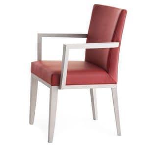 Logica 00935, Massivholzsessel mit Armlehnen, gepolsterter Sitz und Rücken, für Vertrags-und Wohnbereich