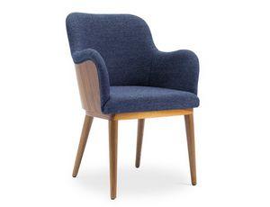 Melita-P, Gepolsterter Sessel, mit Leder oder Stoff bezogen