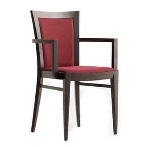 Miro 00521, Sessel mit Armlehnen aus Massivholz, Sitz und Rücken gepolstert, Stoffbezug, für den Objektbereich