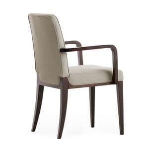 Opera 02221, Sessel aus Massivholz, Sitz und Rücken gepolstert, Stoffbezug, moderner Stil