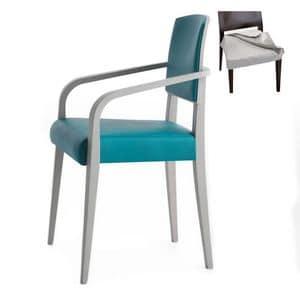 Piper 00824, Sessel aus Massivholz, Sitz und Rücken gepolstert, abnehmbarer Stoffbezug, moderner Stil