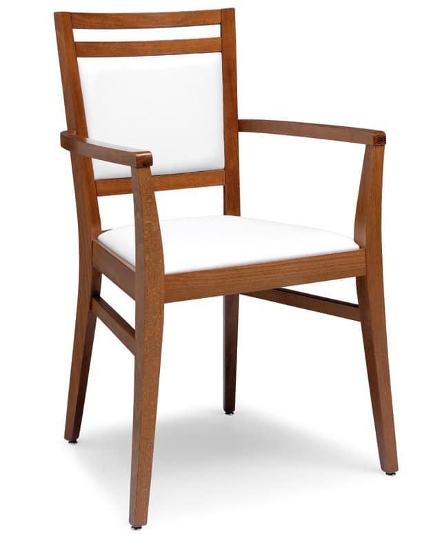 PL 4472 / CP, Sessel aus Holz, Sitz und Rücken gepolstert, für die Restaurants
