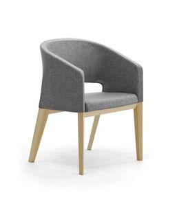 Reef 4G Holz, Gepolsterter Stuhl mit hölzernen Beinen, in minimalem Stil