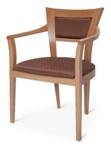 Roby, Buchenstuhl mit Armlehnen, für den Objektbereich