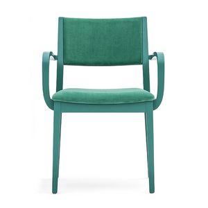 Sintesi 01522, Massivholzsessel mit Armlehnen, gepolsterter Sitz und Rücken, für Vertrags-und Wohnräumen