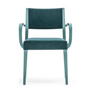 Sintesi 01524, Massivholzsessel mit Armlehnen, gepolsterter Sitz und Rücken, für Vertrags-und Wohnräumen