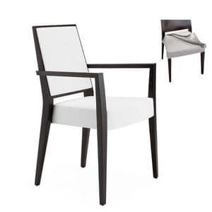 Timberly 01725, Sessel mit Armlehnen mit Massivholzrahmen, gepolsterter Sitz und Rücken, Stoff abnehmbaren Sitz für Vertrags-und Wohnbereich