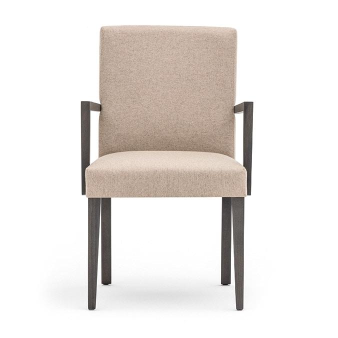 Zenith 01621, Sessel mit Armlehnen mit Holzrahmen, Sitz und Rücken gepolstert, Stoffbezug, für Vertrags-und Wohnbereich