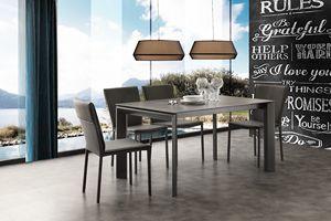 Art. 630 Ceramique, Teleskopisch ausziehbarer Tisch aus Metall und Keramik