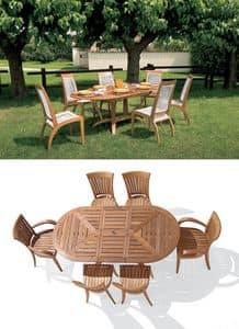 Eclypse ausziehbaren ovalen Tisch, Erweitern ovalen Tisch aus Holz für Garten