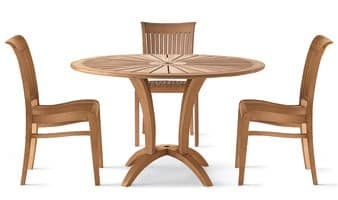 Eclypse runder Tisch, Runder Tisch aus Holz für den Außenbereich