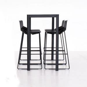 La h110, Cocktail-Tisch aus Aluminium, Laminat HPL-Platte, quadratisch oder rechteckig