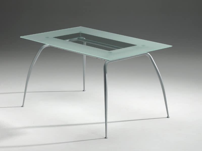 Primera table, Tisch mit Glasplatte, modern, Wohn
