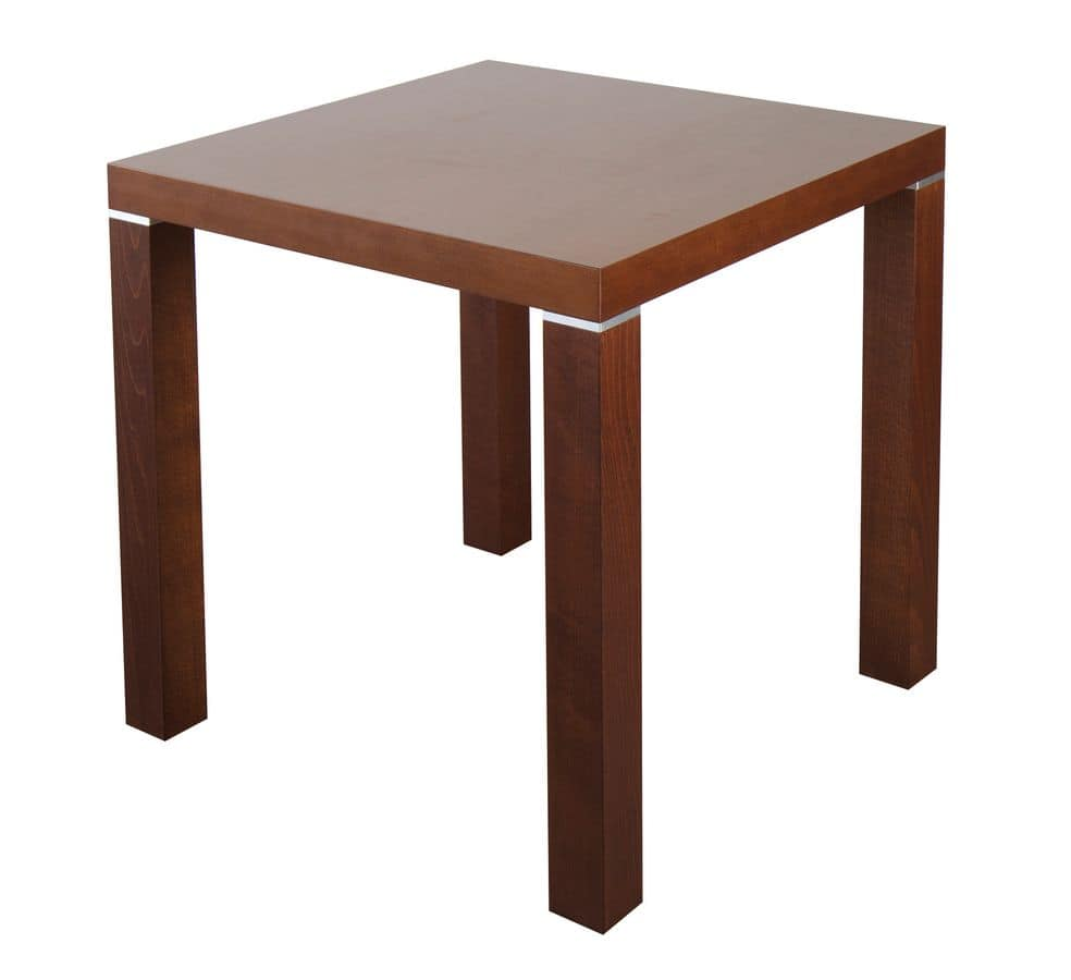 Quadratischer Tisch Aus Holz Mit Metalleinlagen Idfdesign