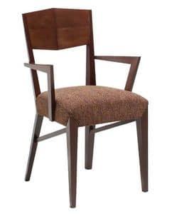 C29, Sessel aus Holz mit Armlehnen, gepolstert und mit Stoff Sitz bedeckt, für Hotels und Restaurants