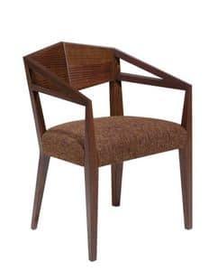 C32, Sessel mit Armlehnen aus Massivholz, Sitz gepolstert, Stoffbezug, für Restaurants und Bars