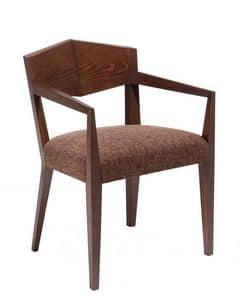 C34, Sessel aus Holz, gepolstert und Stoffbezug Sitz, für Hotels und Restaurants