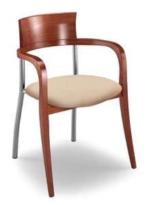 Egle F, Stuhl mit Buche und Metallrahmen, gepolsterter Sitz