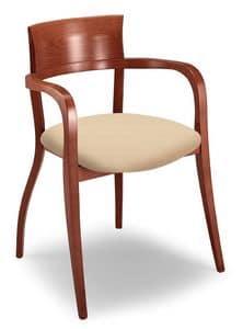 Egle L, Stuhl mit Buchenholzrahmen, mit Armlehnen, für Restaurants