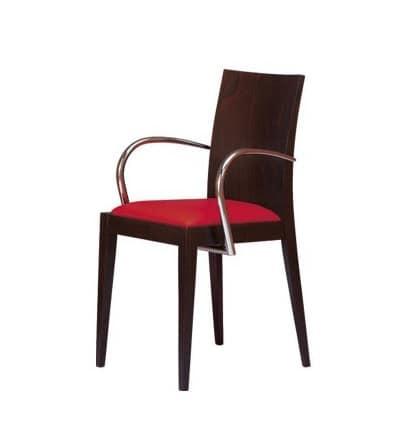 M09, Sessel aus Holz mit Armlehnen, gepolsterter Sitz, für Hotels und Restaurants