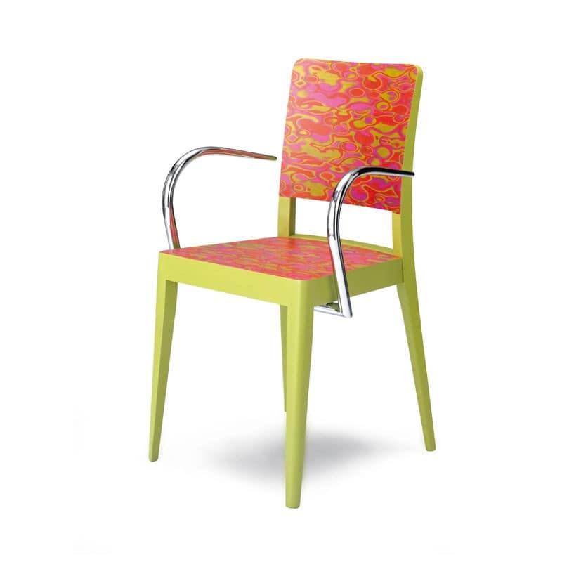 D06, Sessel mit Armlehnen aus Holz und Metall, für Restaurants und Bars