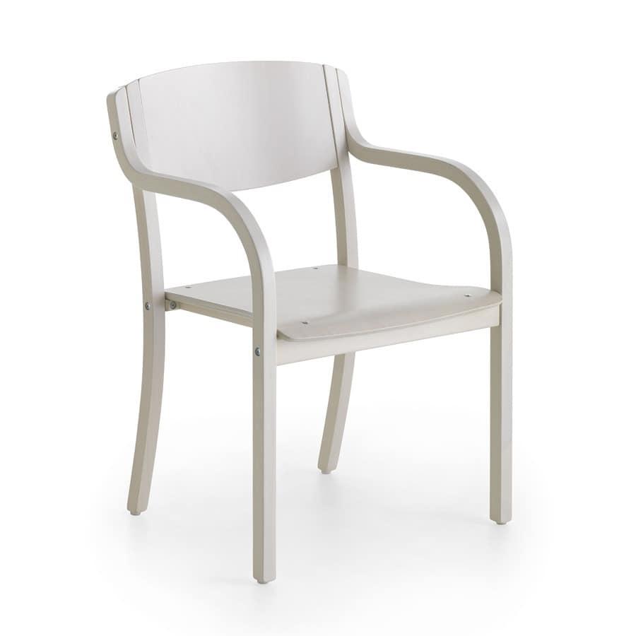 Holzstuhl mit Armlehnen, Minimalismus, Esszimmer  IDFdesign