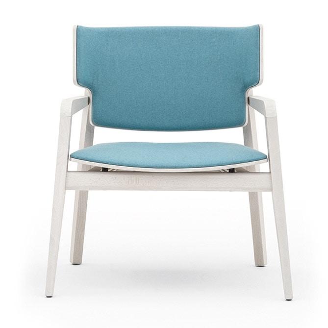 Offset 02843, Sessel aus Massivholz, gepolsterter Sitz und Rücken, in einem modernen Stil