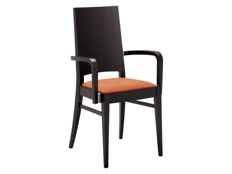 PL 121, Moderne Holzstuhl mit Armlehnen für Restaurant