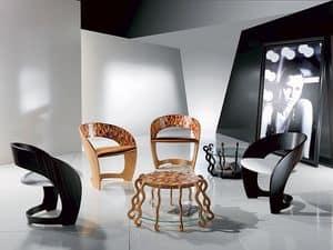 PO25 Arlecchino, Sessel aus Holz mit gepolstertem Sitz, eingelegter Mosaik