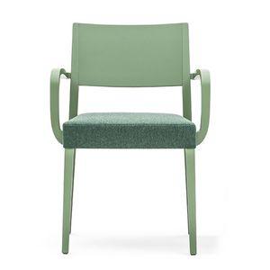 Sintesi 01523, Massivholzsessel mit Armlehnen, gepolsterter Sitz, für Vertrags-und Wohnräumen