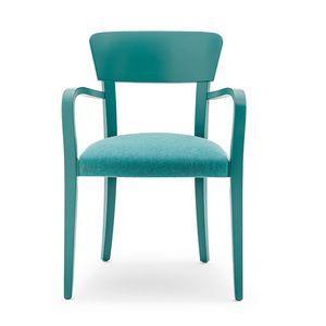 Steffy 00421, Sessel wit Arme aus Massivholz, Sitz gepolstert, für den Objektbereich