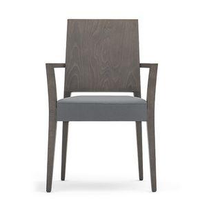 Timberly 01721, Stapelstuhl, Massivholzrahmen, gepolsterter Sitz, Abdecken mit Stoff, für die Gaststätten