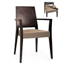 Timberly 01723, Stapelbare Sessel mit Armlehnen, Massivholzrahmen, gepolsterter Sitz, Abdecken mit Stoff, für die Gaststätten