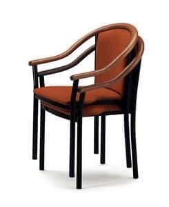 408, Stuhl mit Armlehnen, elegant und klassisch, für Bars