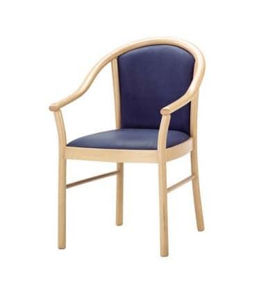 C13, Sessel mit Armlehnen aus Massivholz, für Kantinen