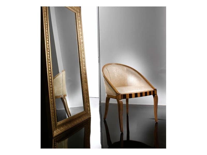 MIMI' armchair 8285A, Elegante Sessel in Buche, mit Original-Inlays
