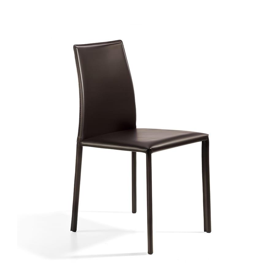 Agata low, Chair komplett in Leder, Stahlkonstruktion abgedeckt